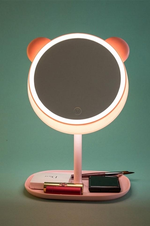 创意卡通萌宠led智能补光抖音带灯台式化妆镜子台灯网红台式带灯光