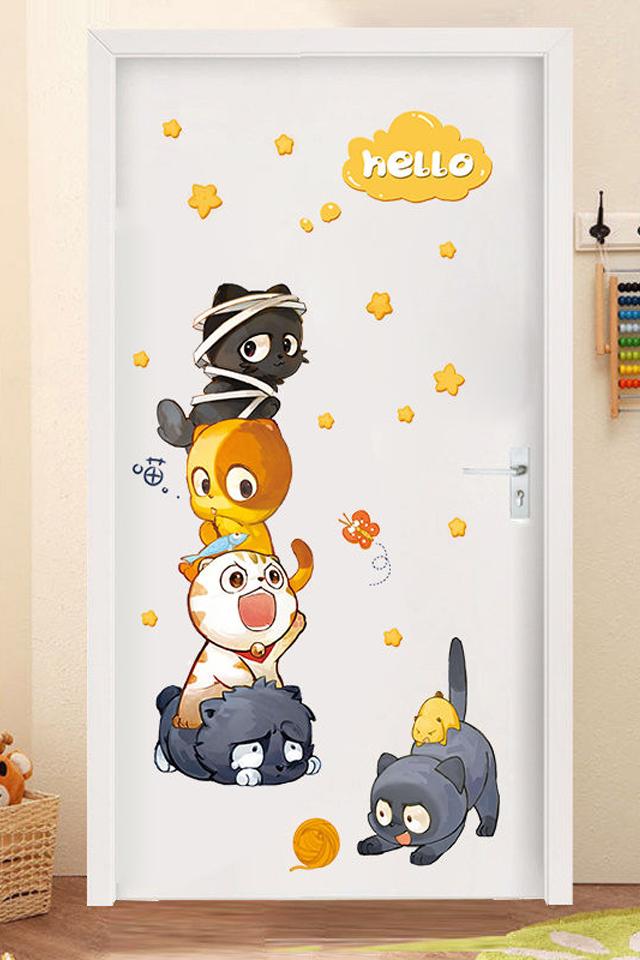 卡通门贴纸儿童房间宿舍创意装饰ins壁纸自粘柜门卧室墙壁墙贴画