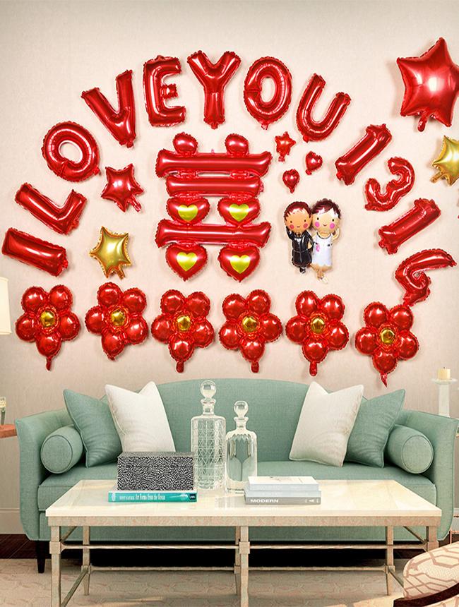 创意结婚节婚庆婚房布置用品大全浪漫卧室字母铝膜气球套餐装饰结婚图片