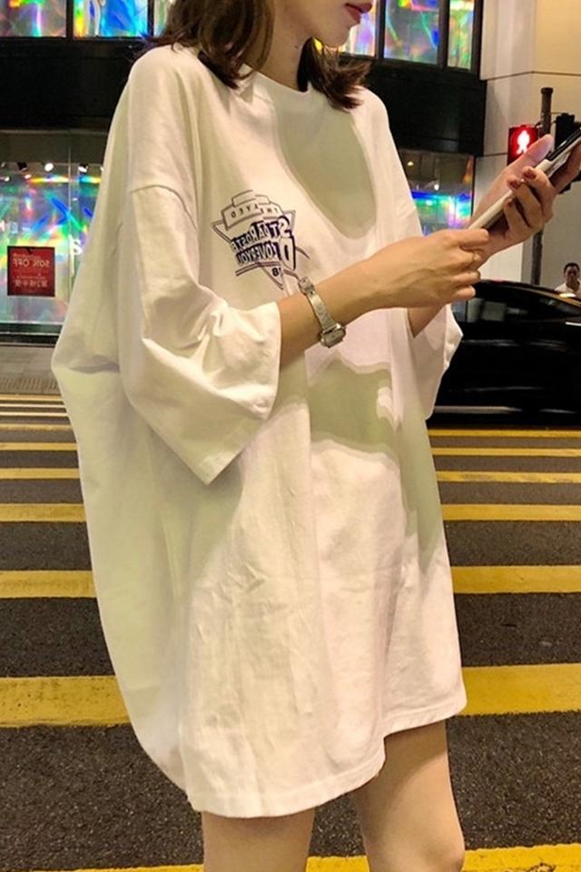 网红同款上衣服女bf风百搭2019春夏季新款宽松韩版港味学生ins白色