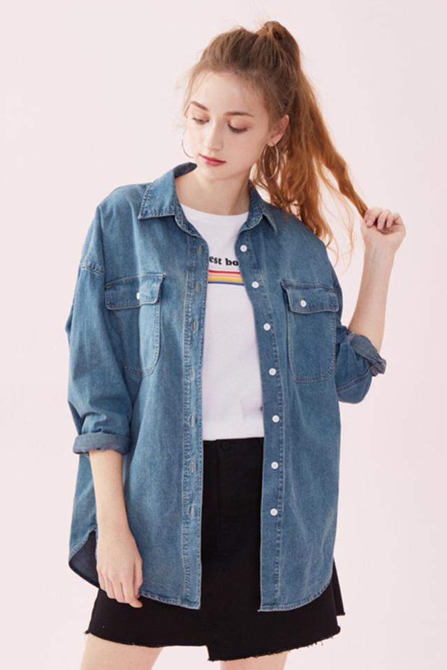 森马长袖衬衫女2019春季新款宽松显瘦牛仔衬衣复古丹宁风外套潮图片