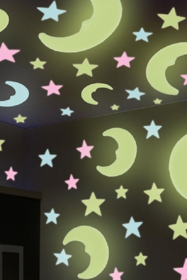 天花板装饰自粘创意3d立体发光儿童房夜光星星贴纸墙壁荧光墙贴纸