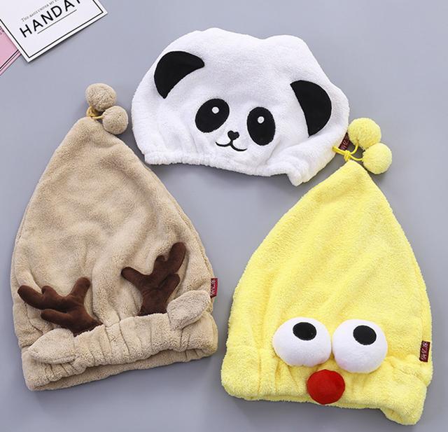 珊瑚绒卡通干发帽超强吸水干发巾 韩国成人可爱速干帽子浴帽