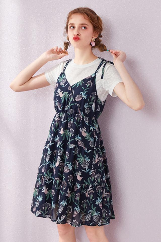 森马套装裙女2019流行裙子夏季新款两件套短袖t恤吊带碎花学生仙图片