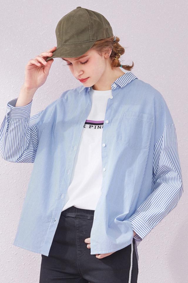 森马条纹衬衫女长袖2019夏装新款蓝色设计感上衣宽松棉网红衬衫女图片
