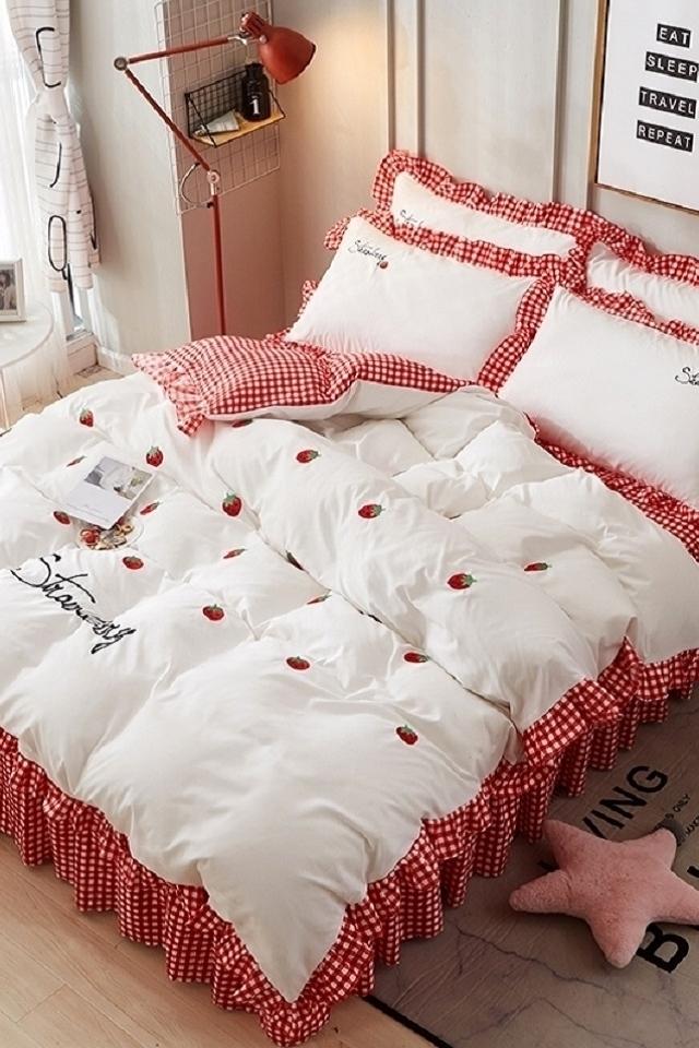 8m床裙床罩公主风床单被套双人床荷叶边简约韩版花卉图片