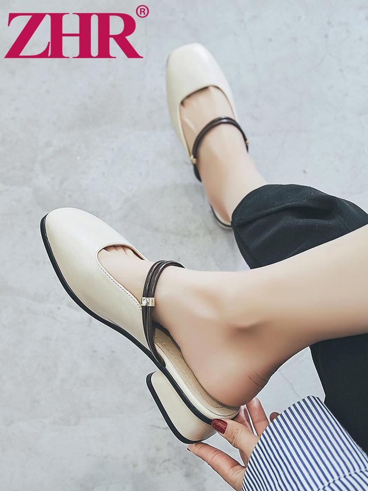 zhr2019春季新款拖鞋时尚外穿粗跟凉拖韩版无后跟懒人鞋包头女鞋k78