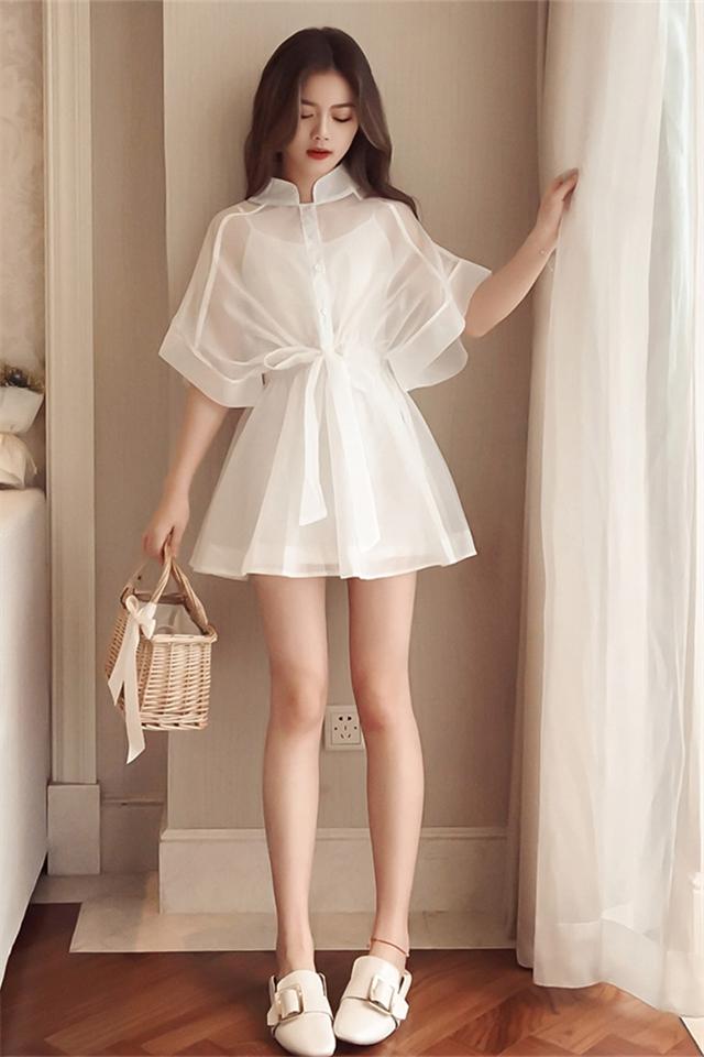 夏装新款洋气减龄套装收腰显瘦藏肉女神连衣裙两件套时尚套装裙潮女图片