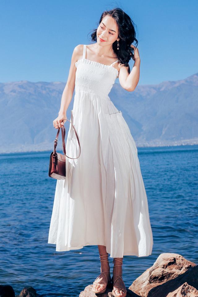 气质性感露背木耳边抽褶吊带裙海边度假大摆沙滩裙超仙连衣裙礼服长裙
