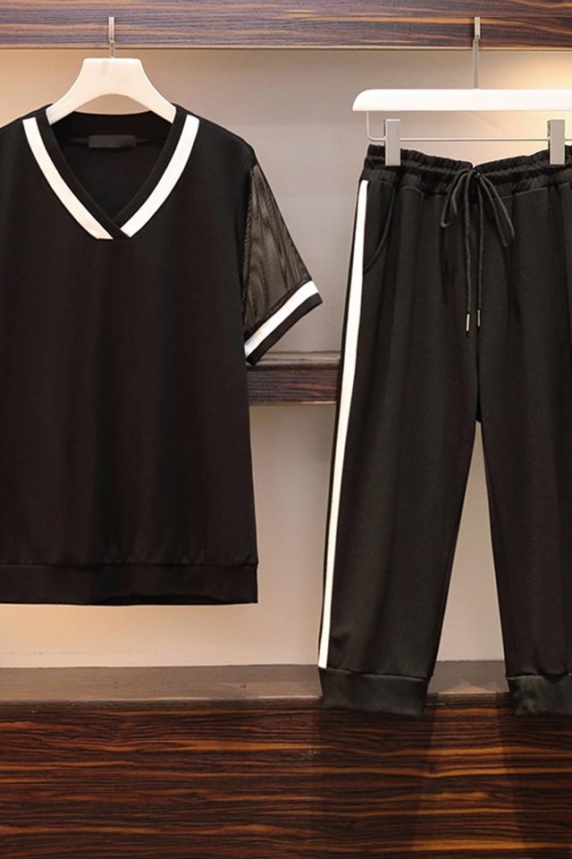 春装两件套裤装图片