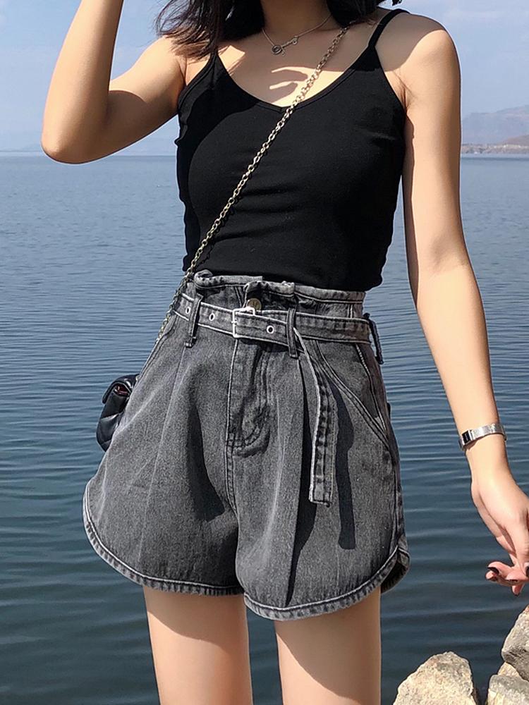 松紧腰牛仔短裤女高腰夏季薄款宽松热裤韩版显瘦阔腿裤子女学生潮