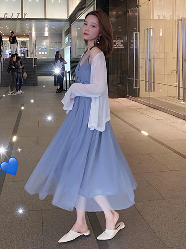 网纱裙搭配什么上衣_时尚套装韩版新款休闲百搭网纱连衣裙夏搭配白色衬衫女外套两件套