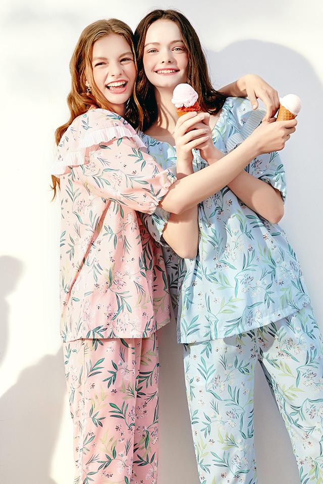 芬腾夏季睡衣女短袖长裤梭织纯棉薄款套头可爱清新套装全棉家居服