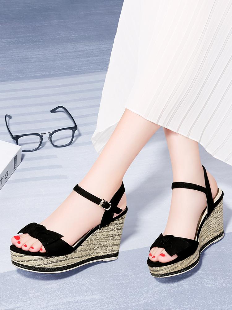 2019夏款夏天夏新款韩版时尚凉鞋坡跟鞋高跟鞋女鞋上班工作鞋