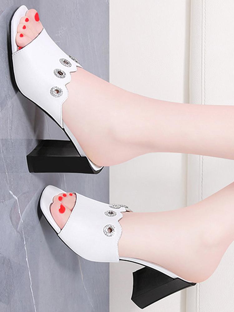2019夏天夏款夏新款外穿拖鞋粗跟鞋高跟鞋时尚凉拖鞋子女鞋女