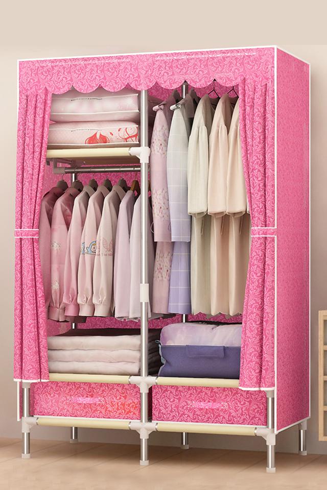 单人小号简易无纺布衣柜钢管简约衣柜组装单人防尘衣柜0.85米