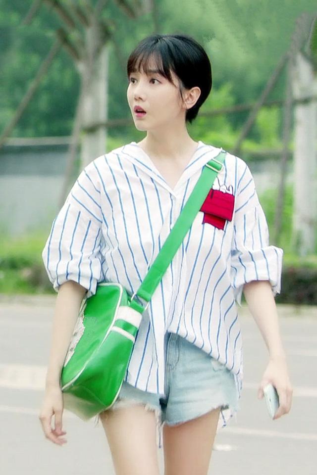 青春斗晋小妮陈小纭同款条纹衬衫衬衣牛仔短裤小个子时尚套装