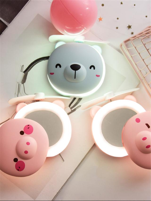 可愛小熊少女心迷你臺式小電風扇美妝鏡風扇手持便攜隨身鏡子風扇