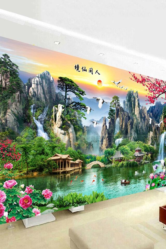 十字绣线绣2019新款满绣刺绣棉线客厅大幅现代风景画人间仙境
