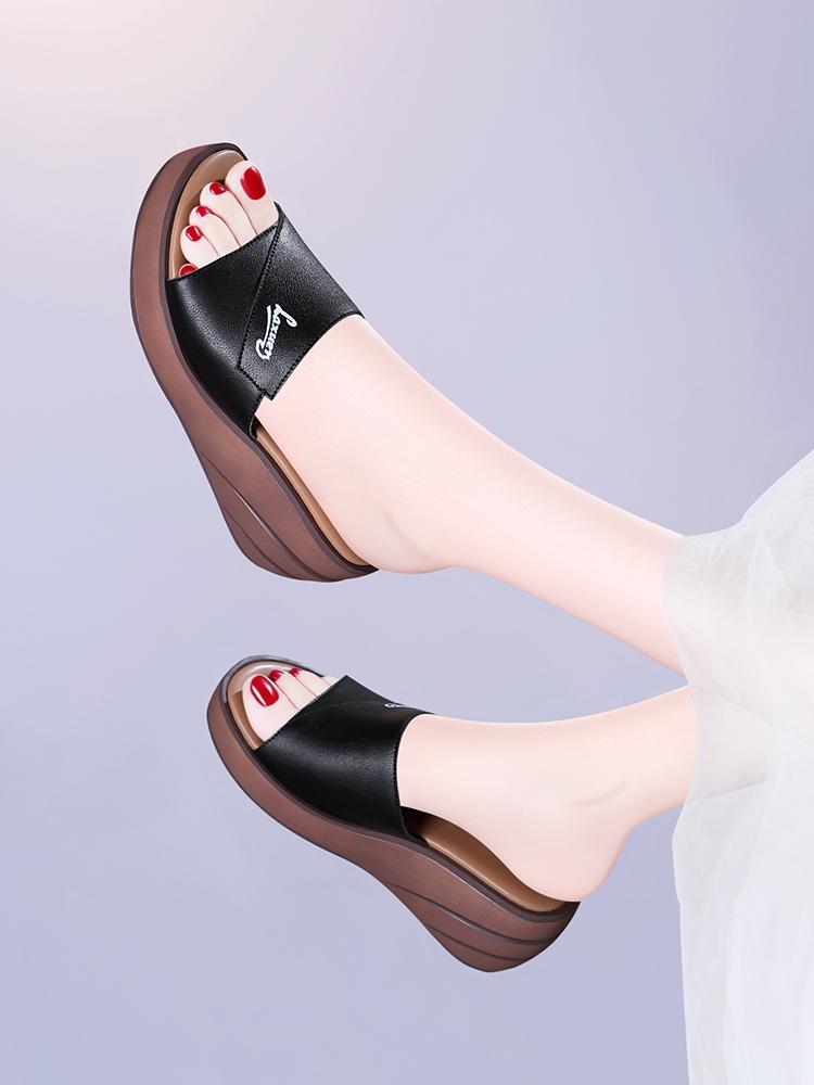 2019夏天夏款夏新款外穿拖鞋坡跟鞋高跟鞋时尚凉拖鞋子女鞋女