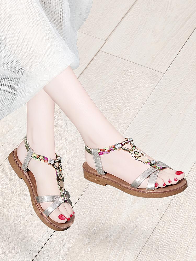 2019夏款夏天夏新款韩版凉鞋平底鞋低跟鞋女鞋职业上班工作鞋