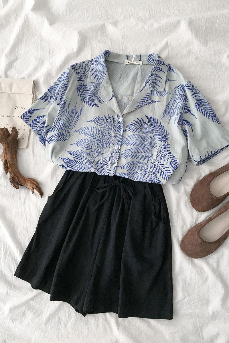 网红两件套装女韩版短袖西装领印花衬衫 松紧腰阔腿短裤度假风夏