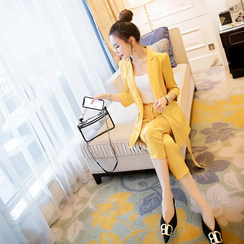 欧女_19夏季新款气质名媛职业套装女欧货显瘦小西装裤子时尚两件套潮