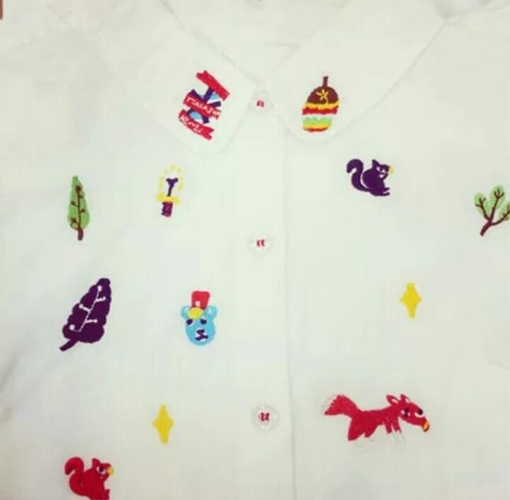 童趣可爱森林小动物原宿软妹短袖衬衣肩宽38 胸围97 腰围96 衣长66.