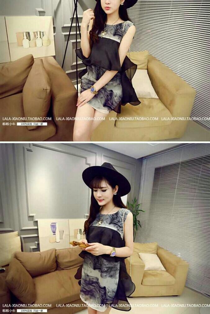 夏装新款韩版时尚拼纱泼墨淑女气质名媛甜美显瘦无袖连衣裙 6134