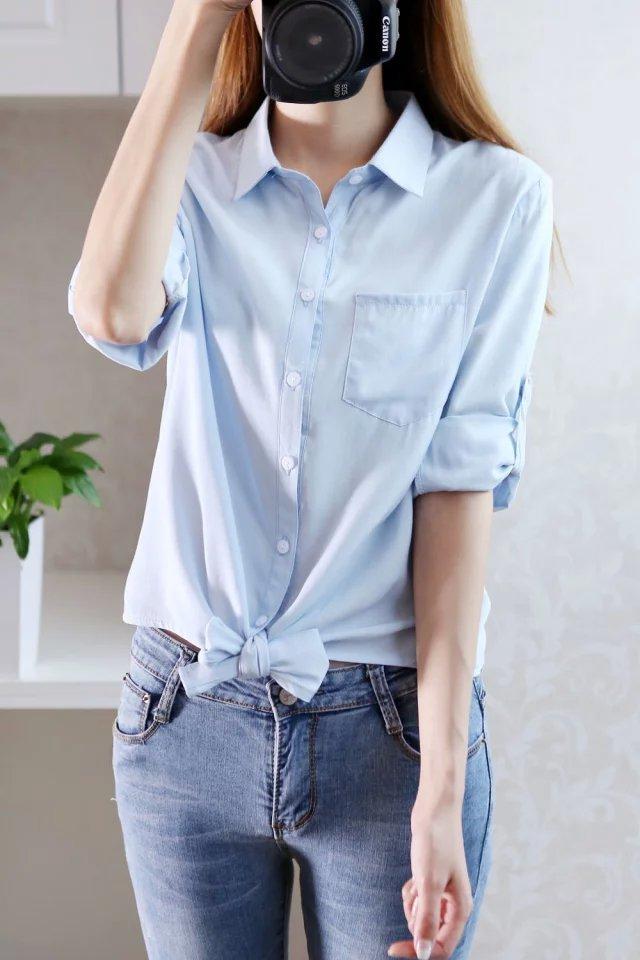 【文艺范小清新挽袖衬衫】-衣服-服饰鞋包