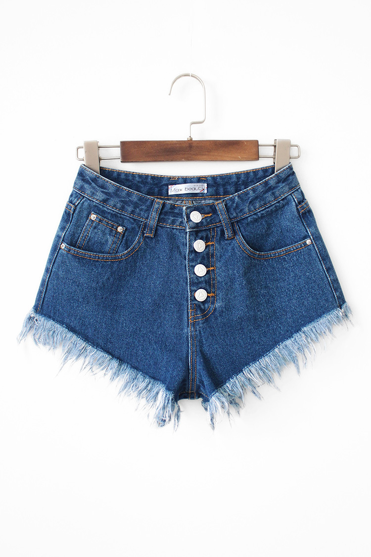 须边裤脚牛仔短裤整体款式