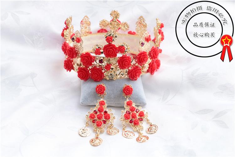 玫瑰花朵新娘皇冠结婚纱