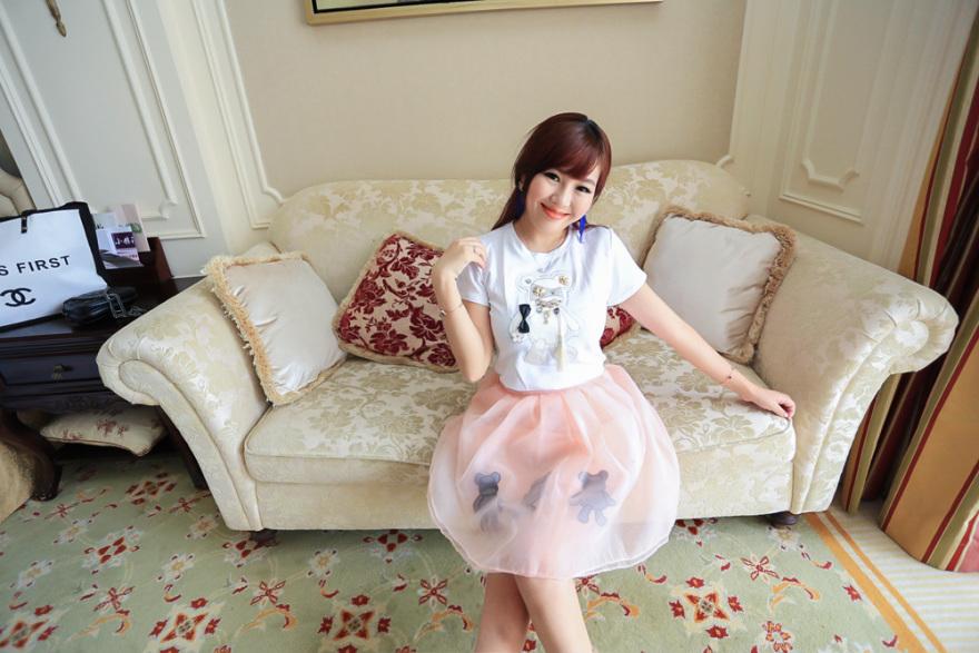 萌萌哒可爱公主立体装饰t桖 小熊图案欧根纱半身裙套装