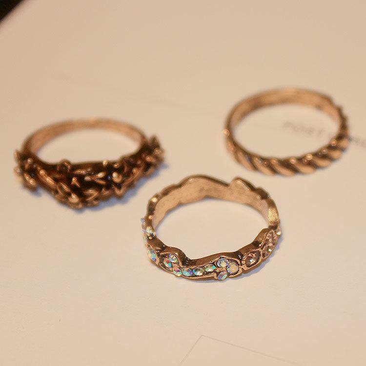 韩国新款三件套复古花纹戒指