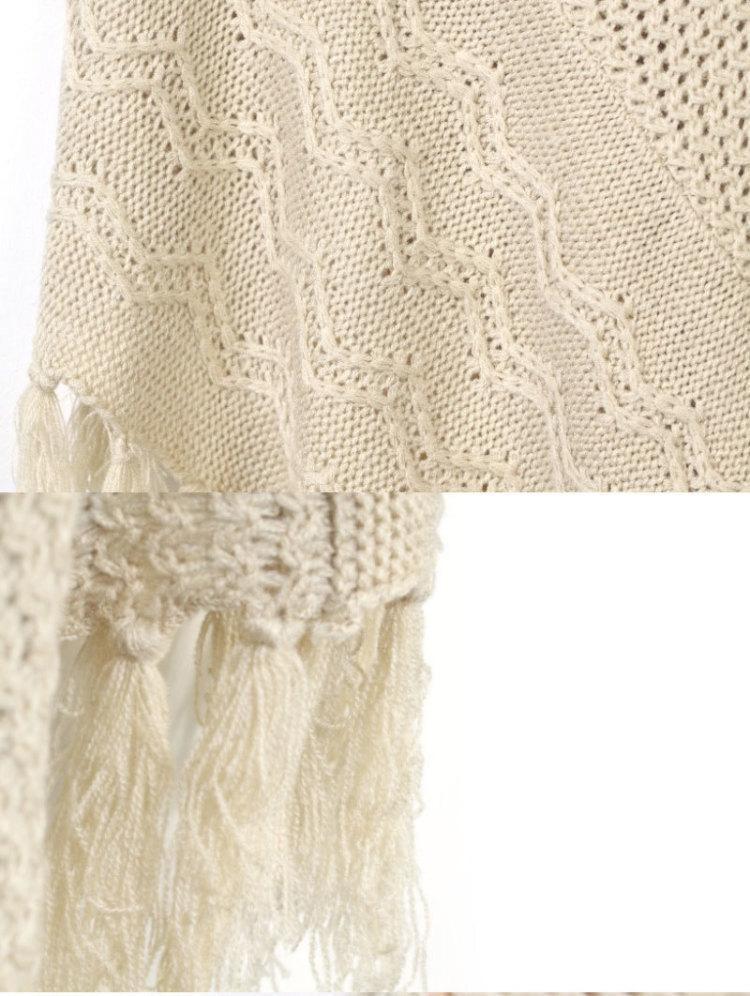 【流苏镂空针织披肩】-衣服-针织衫
