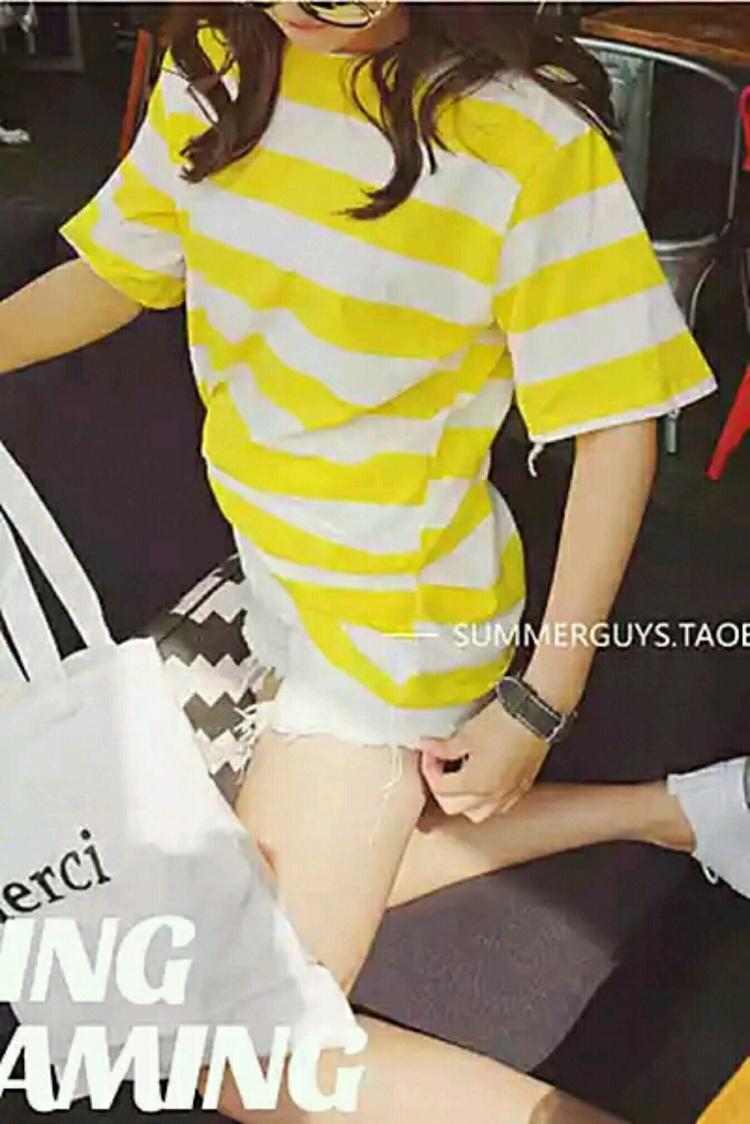 【韩国黄白条纹t恤】-无类目--阿麽沐则熙-蘑菇街
