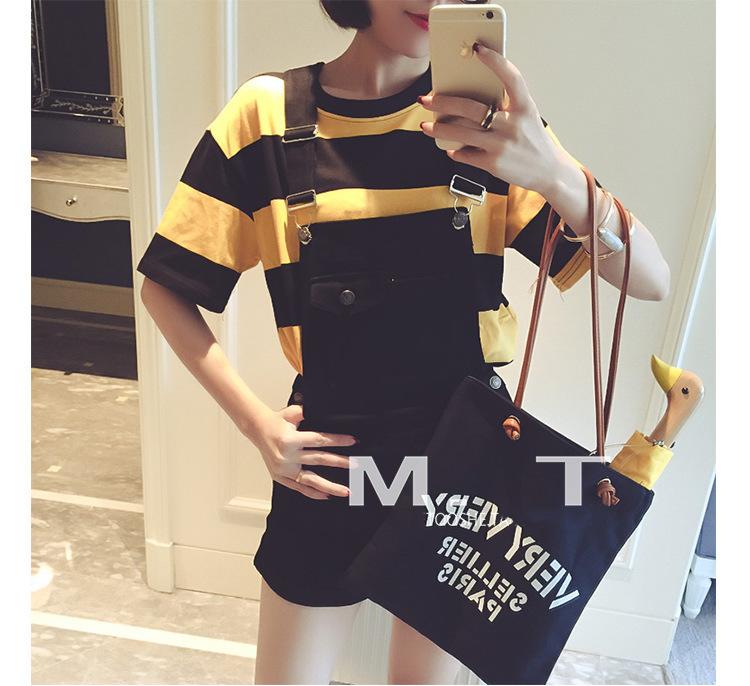 【宽松黄黑条纹圆领短袖t恤】-衣服-服饰鞋包