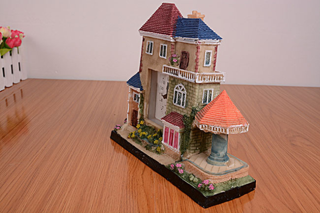 【高档古典欧式房屋外形建筑闹钟创意新款桌面实用】