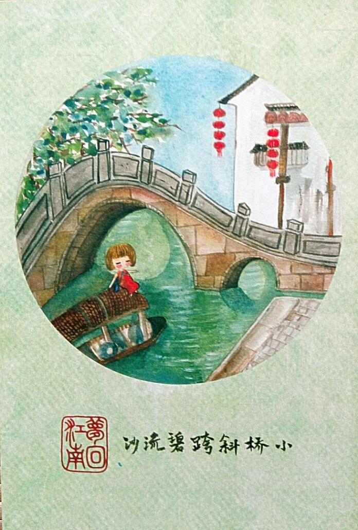 手绘明信片:上海的标志性建筑