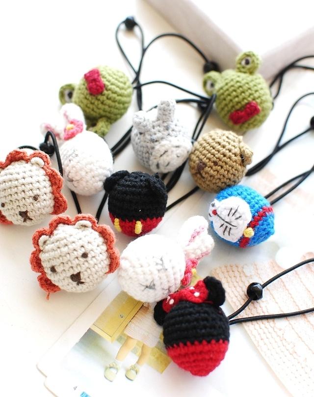 一对 可爱卡通小动物纯手工编织毛线发绳