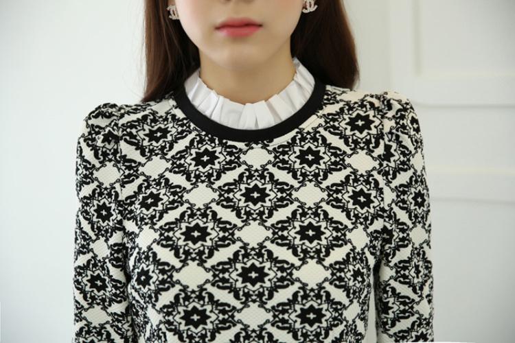 【【名媛世家】韩版复古印花领口花边针织衫】-衣服