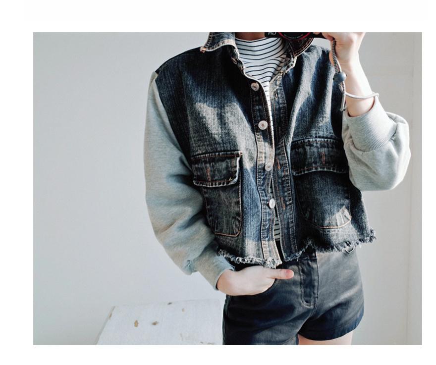 【韩版新款拼接牛仔外套】-衣服-牛仔外套_上装_女装