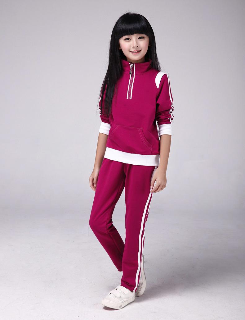 女中大童长袖裤子2件套秋季中小学生女秋装女孩春天衣服运动套装