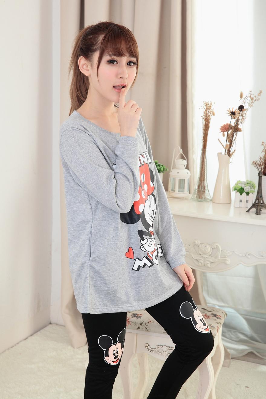 春秋季女士薄款卡通韩版米奇鼠长袖莫代尔学生中长款睡衣