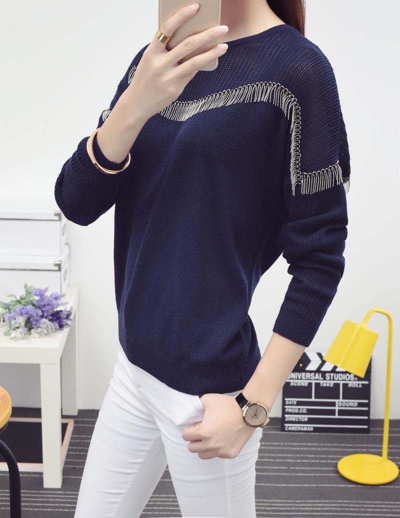 秋冬新款韩版蝙蝠袖流苏针织衫