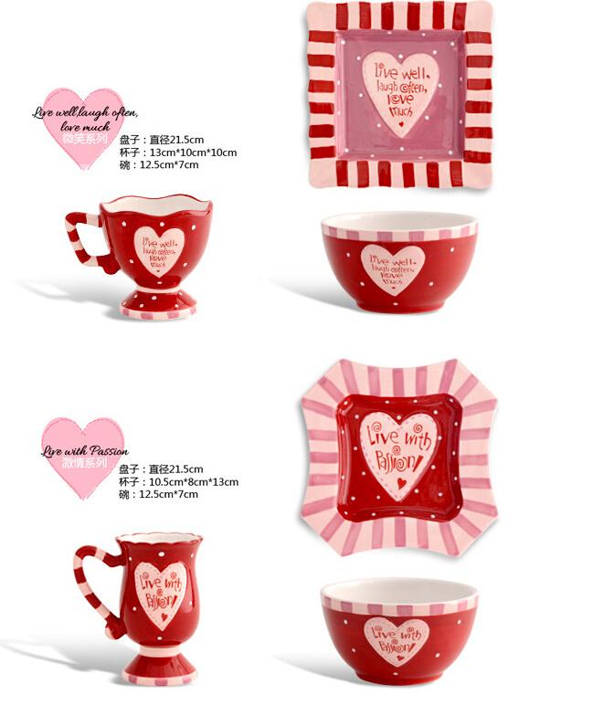 创意陶瓷餐具套装彩绘陶瓷盘子杯子碗婚庆结婚七夕情人节礼物礼品