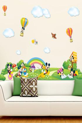 9 绿色梦境 儿童房卡通装饰贴纸软家装电视墙贴画荡秋千女孩墙贴 ¥15