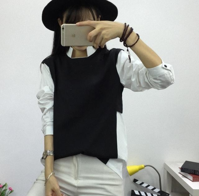 柳叶丸 韩版立领黑白拼接假两件百搭衬衫