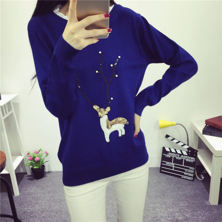 【韩版卡通小鹿图案花边领毛衣】-衣服-毛衣