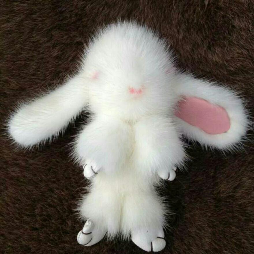 超萌水貂小兔子挂件整张水貂皮